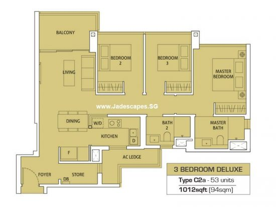 Floor Plan 3 Bedroom Deluxe Type C2a - 1012sf